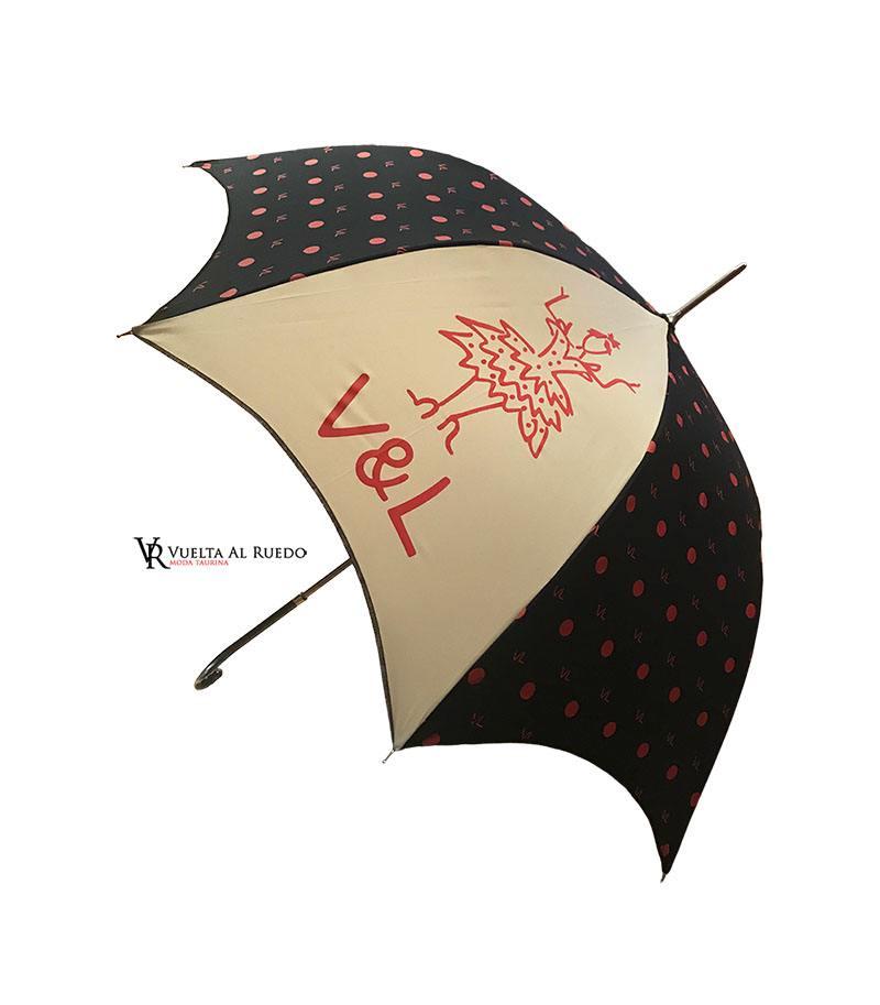 589f59eaf1b Paraguas Victorio   Lucchino largo negro y beig de señora – VUELTA ...